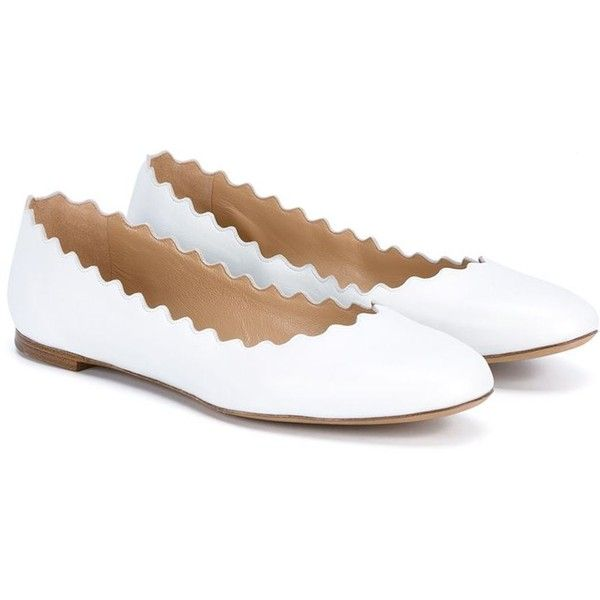 Chloé Lauren Ballerinas (€310) ❤ liked on Polyvore featuring shoes, flats, ballerinas, sandals and flats, sapatilha, flat shoes, white shoes, chloe flats, white leather shoes and leather ballet shoes