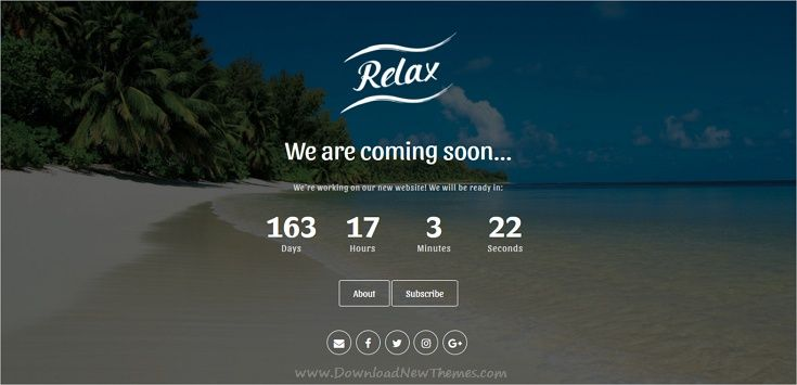 Relax is a minimal responsive #HTML template for #comingsoon / under construction website with countdown timer, Ajax subscription form, social icons & beautiful effects download now➩ https://themeforest.net/item/relax-responsive-coming-soon-html-template/19537237?ref=Datasata