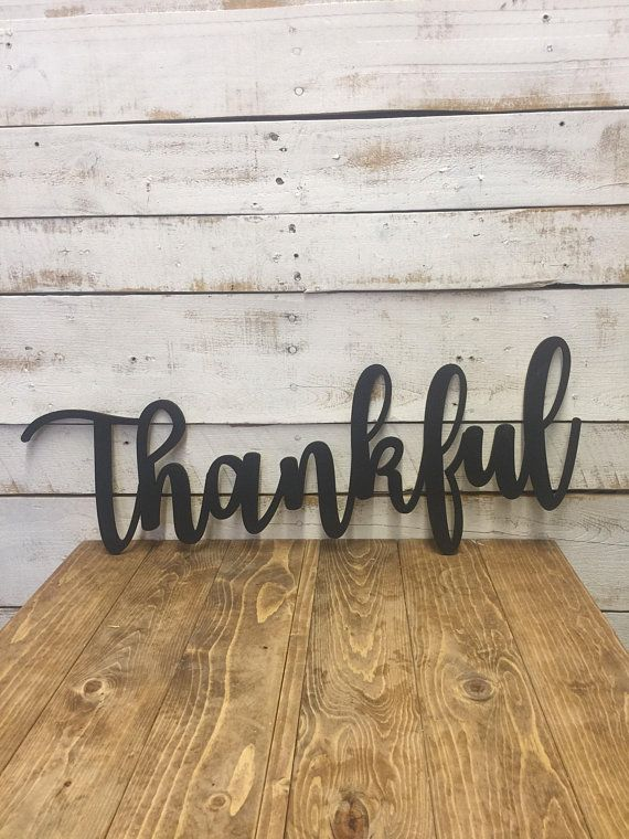 Thankful Sign Wooden Letters Thankful Word Cutout Thankful Home
