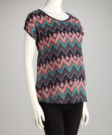 Another great find on #zulily! Navy Zigzag Maternity Short-Sleeve Top #zulilyfinds