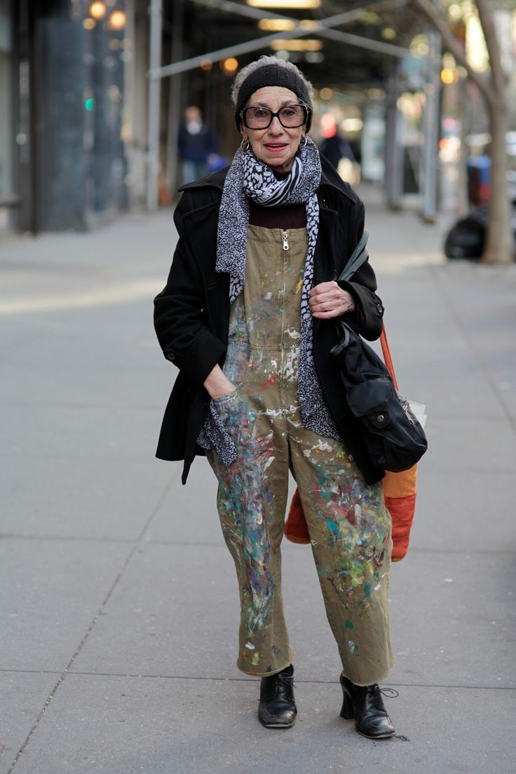 """ADVANCED STYLE: Work Clothes : When I approached the woman above about taking her photograph she replied, """" Sure you can. I'm a painter, a muralist, and I work in these overalls."""""""