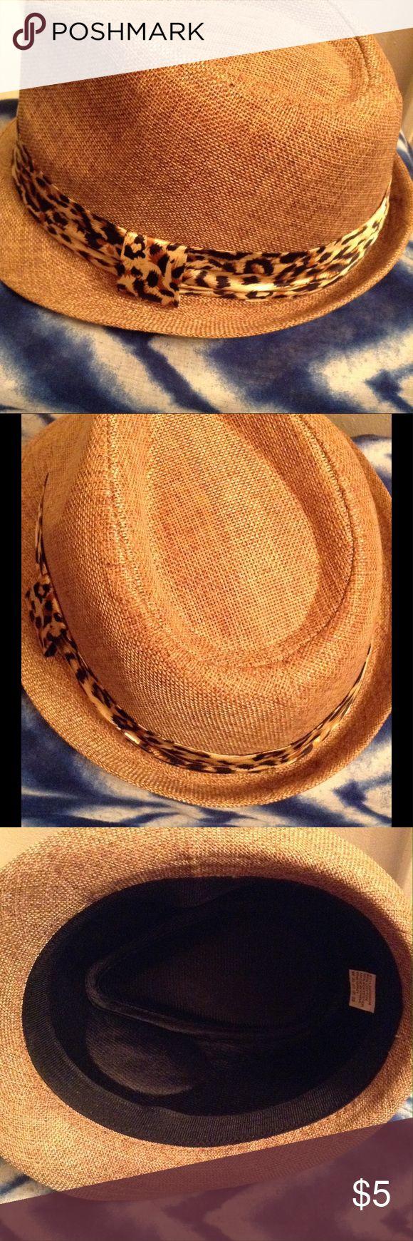 Hat Neutral Hat w/silk Leopard Ribbon Trim Accessories Hats