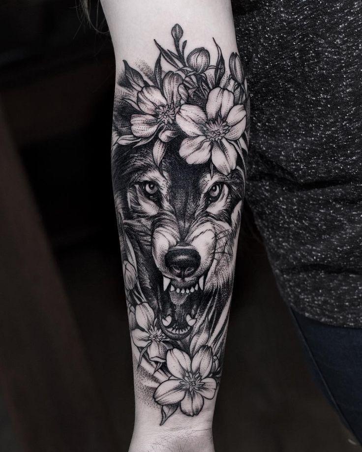 black work wolf and flowers tattoo idea