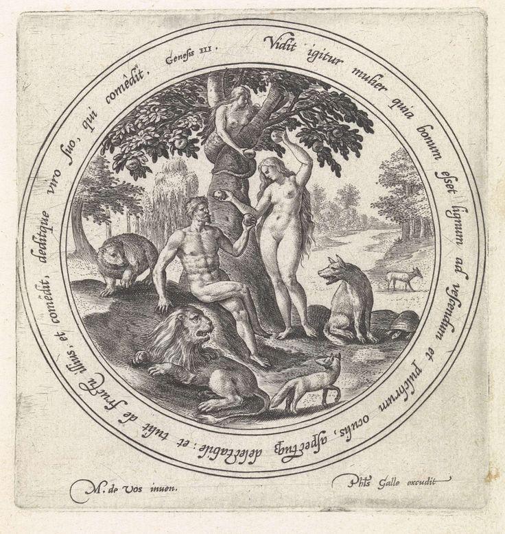 Crispijn van de Passe (I)   Eva biedt Adam de verboden vrucht aan, Crispijn van de Passe (I), Philips Galle, 1580 - 1588   Adam en Eva tussen de dieren in het paradijs. Eva krijgt een vrucht van de boom van kennis van goed en kwaad aangereikt door de slang en biedt tegelijkertijd Adam een vrucht aan. In het randschrift van de omlijsting een Bijbelcitaat uit Gen. in het Latijn.