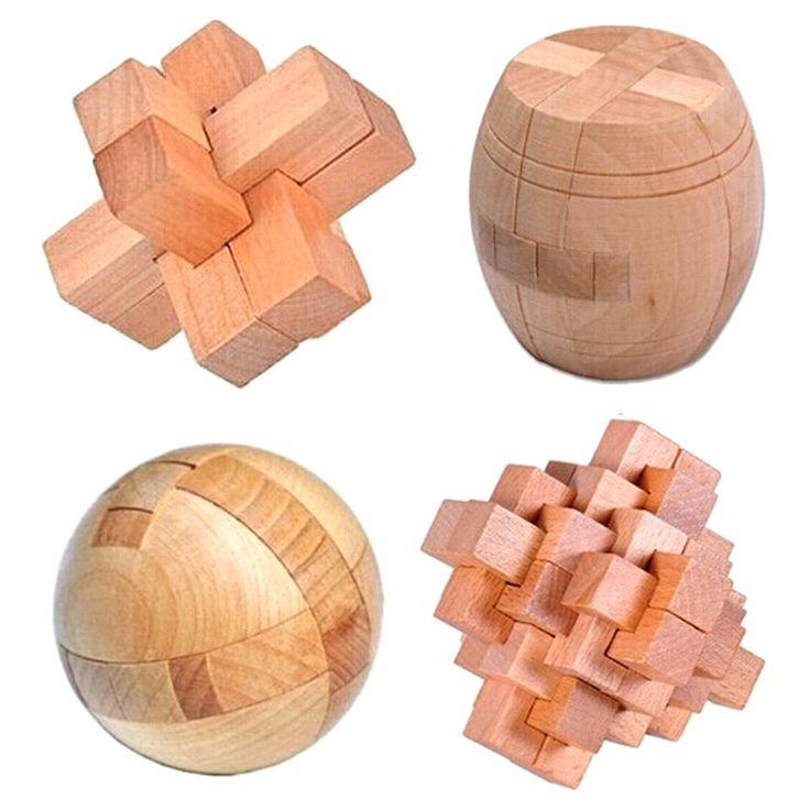 4pcs/lot 3D Puzzle Eco-friendly Beech Wood Jigsaw Brain Teaser Adults Puzzle Kids Educational Wooden Toys