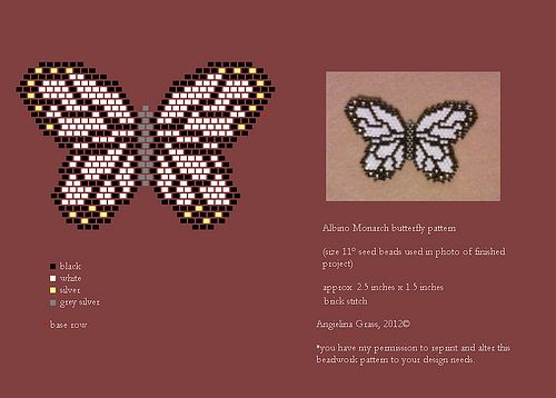 beaded albino monarch butterfly pattern (pendant/pin) by Angielina Grass, 2012© | Flickr - Photo Sharing!