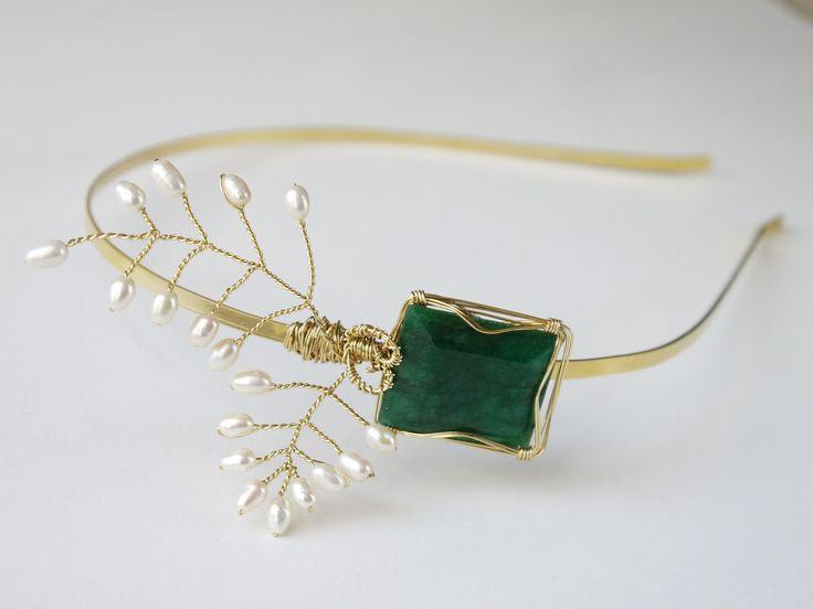 emerald green and gold reception | emerald green for elegant fall weddings gold bridal headband | OneWed ...