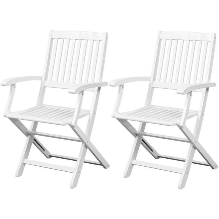 White Folding Garden Chairs Outdoor Patio Furniture Dinning Chair Set 2 Pcs New