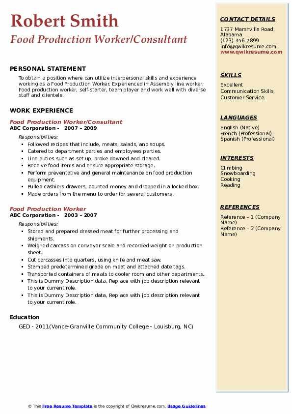 Food Production Worker Resume Louiesportsmouth Com Resume Template Examples Resume Sample Resume Templates