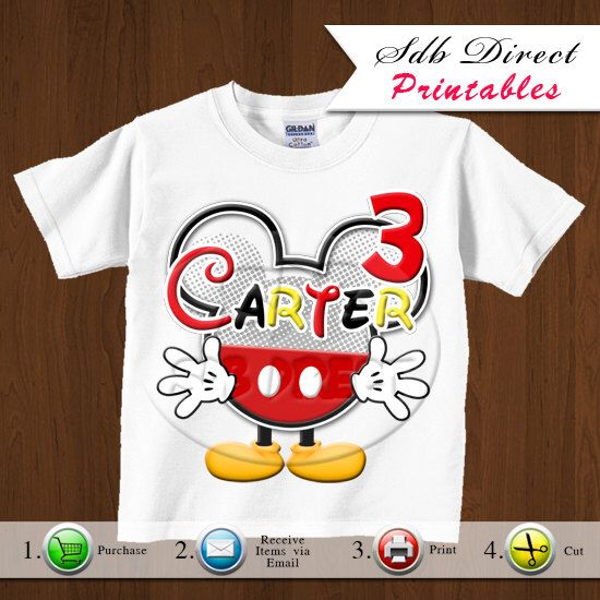 Mickey Mouse Iron On Printable, Mickey Mouse Party, Mickey Mouse Birthday Prinatbles - Any Age - Printable - Style 13- YOU PRINT by YellowFieldsDesigns on Etsy https://www.etsy.com/listing/116601087/mickey-mouse-iron-on-printable-mickey