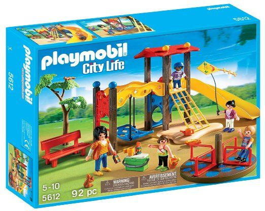 Complete with a jungle gym and merry-go-round, the #Playground has some outdoor fun for everyone. #Kids will love racing figures down the slide or giving them a push on the swing.  #toys, cooler, and additional accessories.  #PLAYMOBIL games holiday gift