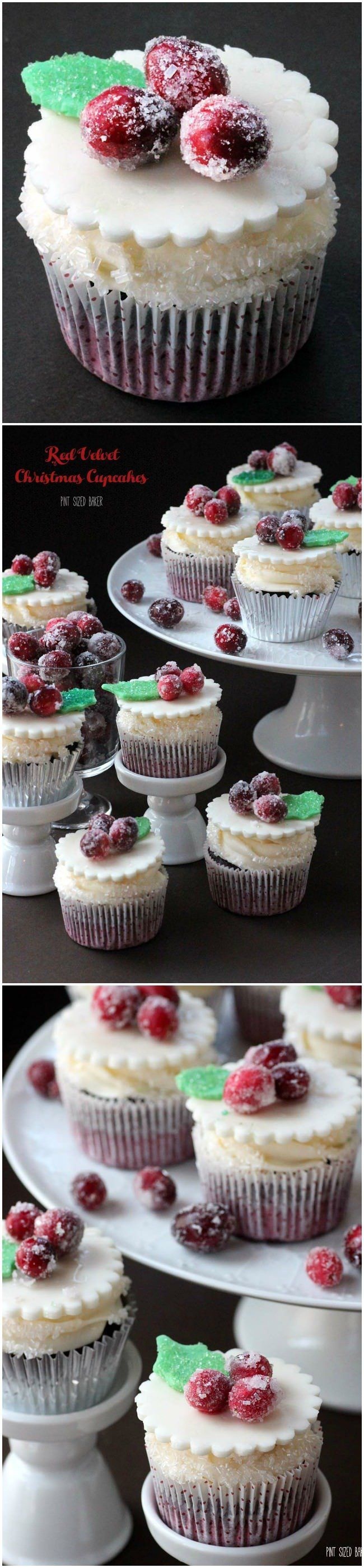 My family loved these Red Velvet Christmas Cupcakes with marshmallow fondant and sugared cranberries.