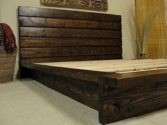 Deluxe Diy Rustic Bed Frame Rustic Wood Bed Rustic Wood