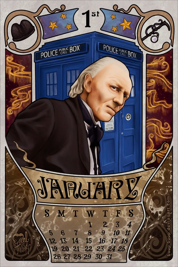 All right, this is the first month for my doctor who 2014 calendar (I love make calendars), you can download it for you personal use. 1st Doctor by boop-boop.deviantart.com on @deviantART