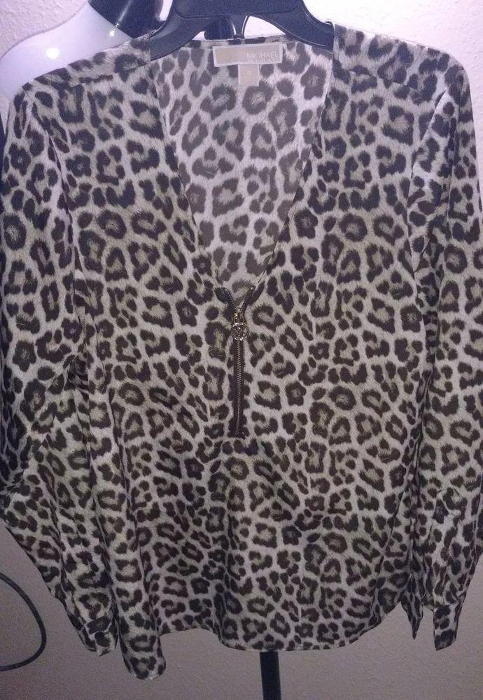 5e9706ca152 MICHAEL KORS Women's Cheetah Long Sleeve Blouse Designer 1/2 Zipper Top 10  NWOT #fashion #clothing #shoes #accessories #womensclothing #tops (ebay  link)