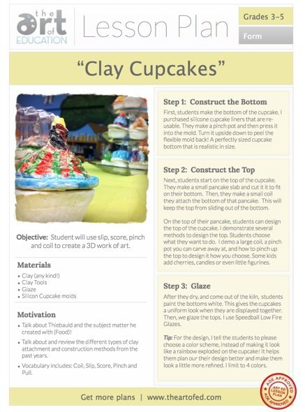 Clay Cupcake Lesson Plan Download. Free one page PDF.   ALWAYS A FUN LESSON!