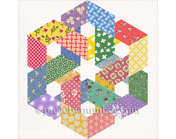 The Hexagonia quilt block pattern has detailed paper piecing foundations and complete instructions for the two variations shown - a square