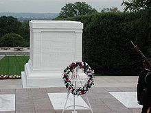 The Tomb of the Unknowns at Arlington National Cemetery is also known as the Tomb of the Unknown Soldier. It stands on top of a hill overlooking Washington, D.C. Summer 2010