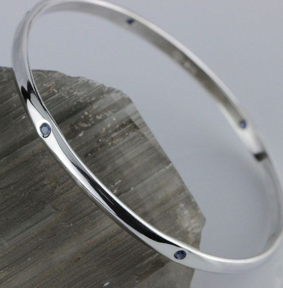 Sterling Silver Bangle set with 6 Sapphires - 65mm (2.55')