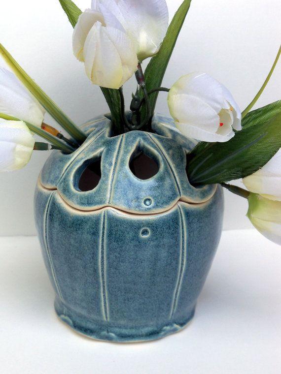 Hand-crafted stoneware antique blue tulipiere vase / flower holder / toothbrush holder