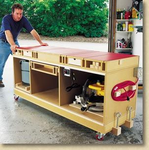 This really is the Ultimate Tool Stand! it Even leaves storage areas for the miter saw, portable planer and pre-mounted router. Switching out different tools looks like a breeze. I have to design one of these to roll out from under the workbench.