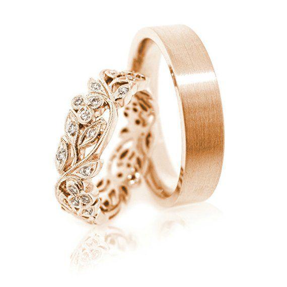 14k vendas de boda de oro. Conjunto de anillo de boda. Bandas de boda únicas. Bandas de boda juego. Anillos de pareja. Anillos de boda. Anillo ajuste su y su