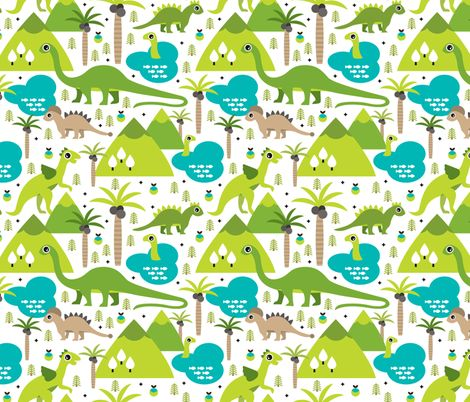 Cute dino nature fabric by littlesmilemakers on for Kids dinosaur fabric