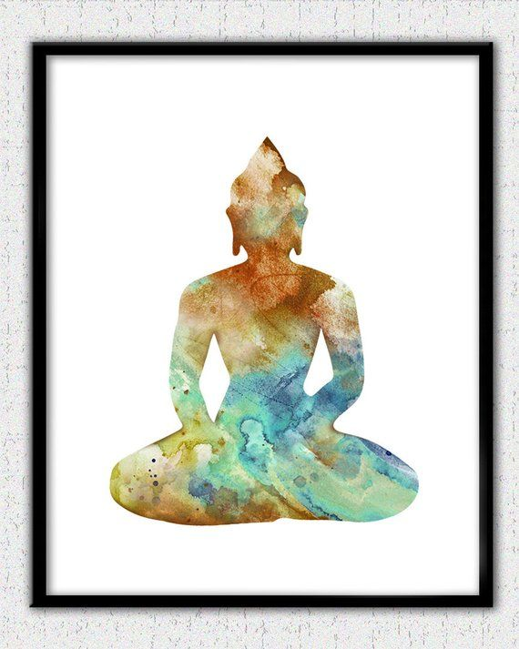 Buddha Watercolor Print Quote Art Meditation Yoga Zen Buddhism Poster Yoga Art
