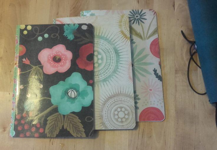 cahiers faits maison pour mon traveler's notebook. Avec papier blanc, quadrillé et un calendrier mensuel.