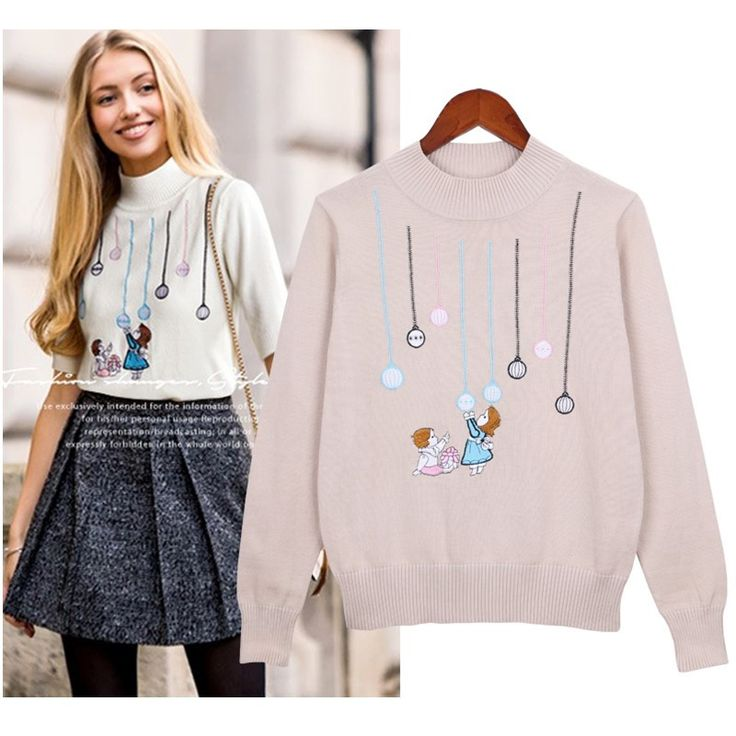 Hodisytian New Fashion Women Sweater Autumn Pullover Camisolas Knit Cartoon Embroidery Sueter Femme Europe Boyfriend Plus Size #Affiliate
