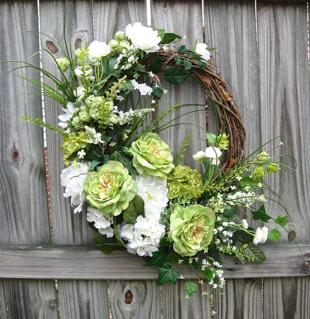 Irish Girl's Wreaths Spring Cottage St Patricks Day wreath bought with flowers from afloral.com https://www.etsy.com/listing/173437350/st-patricks-spring-cottage-rose-peony