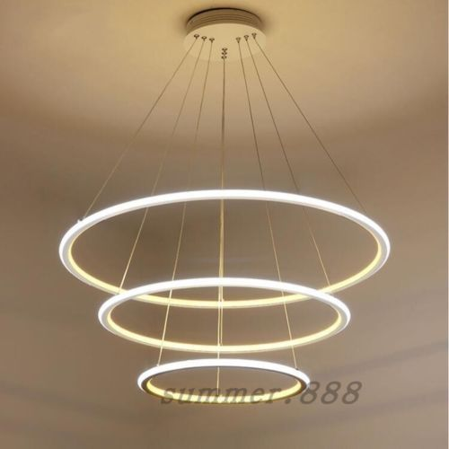 New Modern 2 3 4 Circle Rings Led Pendant Living Room Dining Room