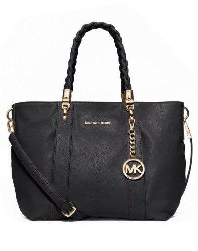 a8392af636 Michael Kors Naomi Goat Leather Twisted Handles Large Shoulder Tote Bag  (Black)