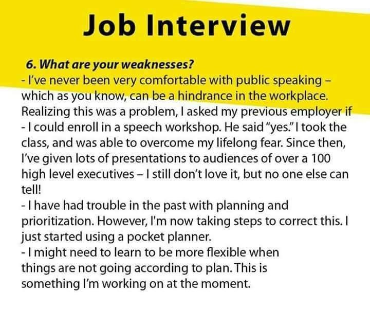 How to answer - what are your weaknesses? | Job interview, Job interview  tips, Interview answers