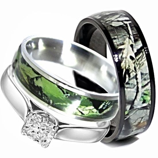 Amazing Camo Wedding Rings Set His and Hers