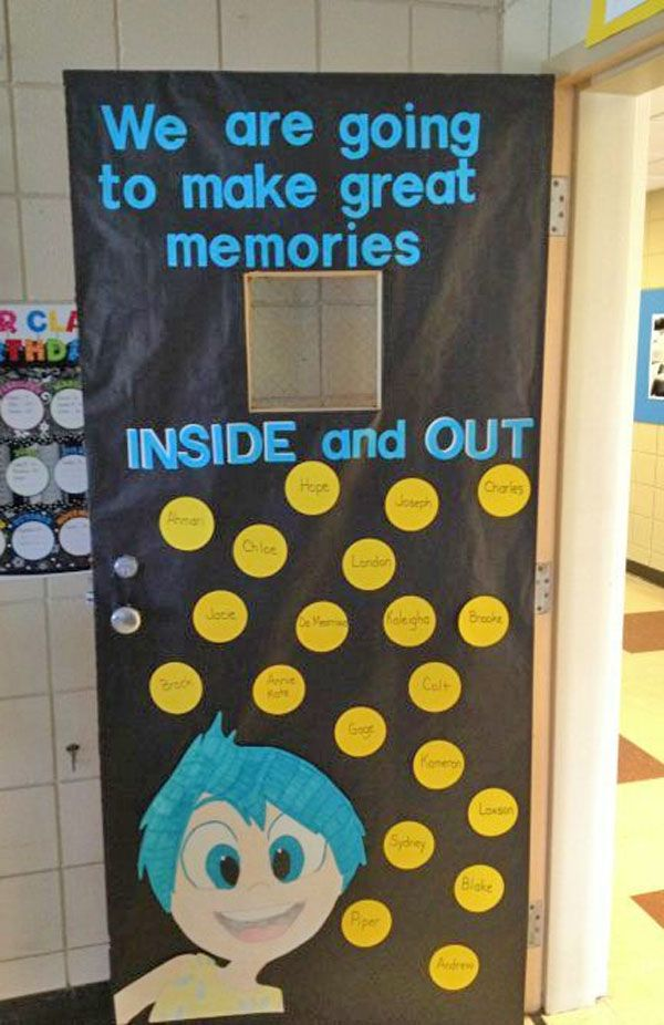 Check out this fun Inside Out Door Idea featured in the Back to School Bulletin Board Ideas Roundup on OneCreativeMommy.com!