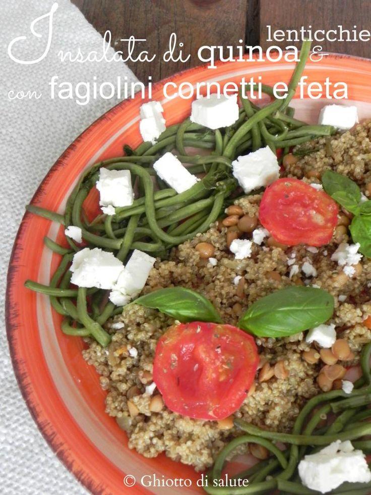 Insalata tiepida di quinoa aromatica e lenticchie, con cornetti e feta by Ghiotto di salute