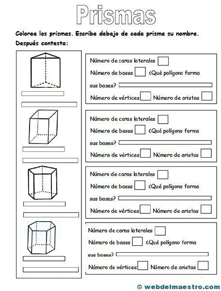 Figuras geometricas tridimensionales primaria: prismas-actividades