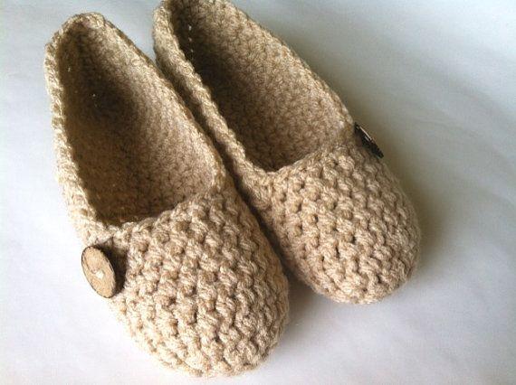 Handmade crochet slippers.