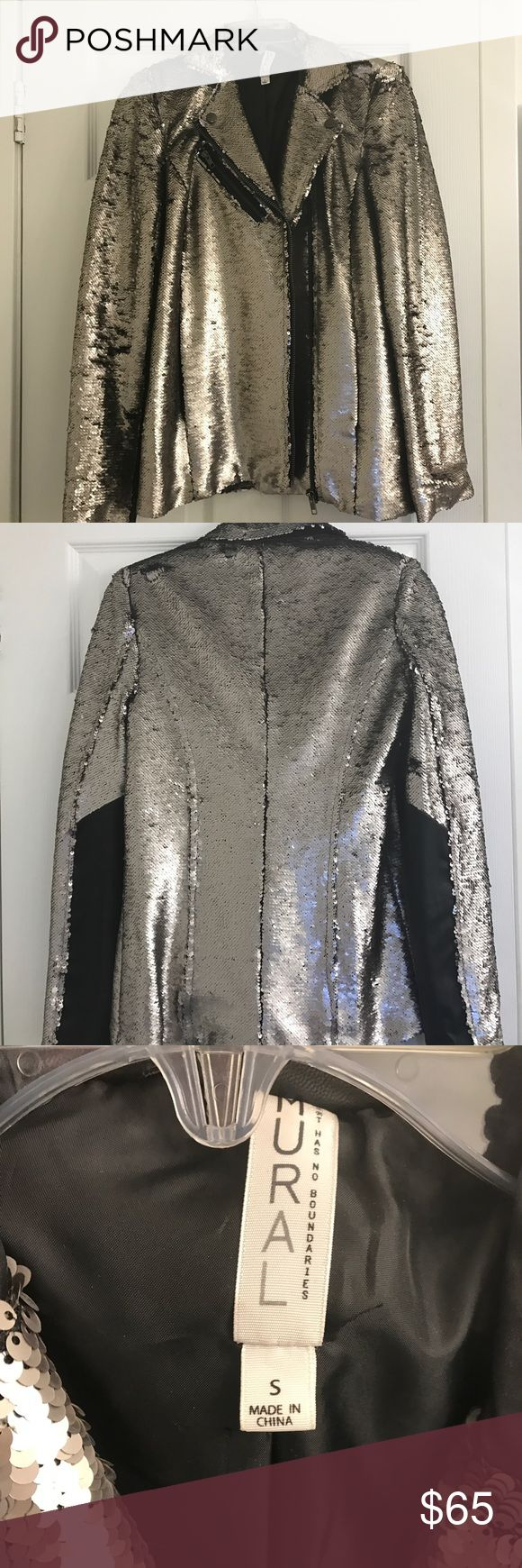 Mural sequined blazer size Small Pewter/silver with leather on sleeves mural Jackets & Coats Blazers