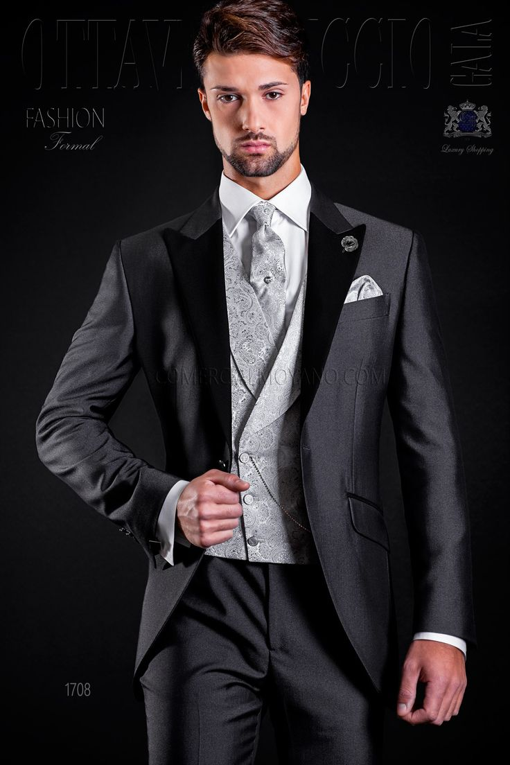 italian bespoke anthracite grey frock coat suit with black satin peak lapels and 1 button wedding suit 1708 fashion formal collection ottavio nuccio gala - Costume Gris Anthracite Mariage