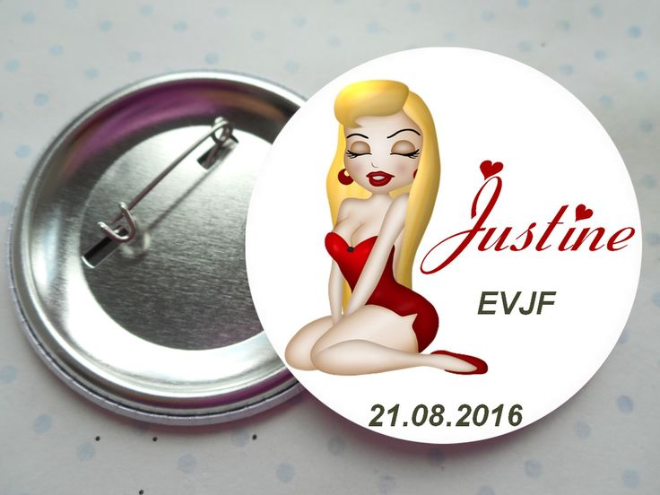 "Grand badge 56 mm collection ""glamour blonde EVJF"" rouge, blanc, noir, mariage PERSONNALISABLE : Pins, badges par miss-coopecoll"