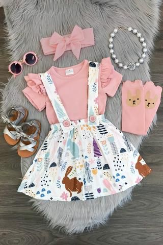 Blush Pink Bunny Suspender Skirt Set