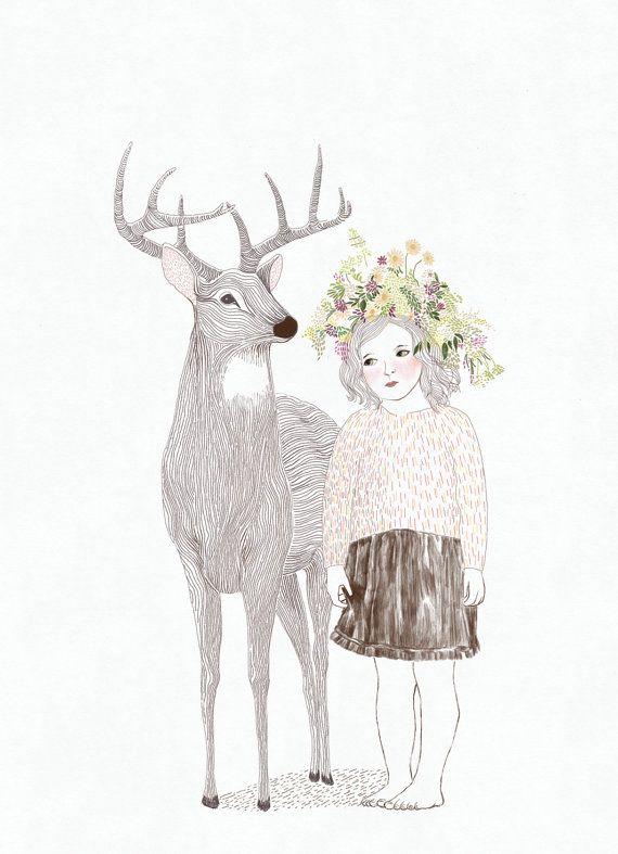 deer and little girl  nursery art print of orginal by kucukbakkal, $20.00
