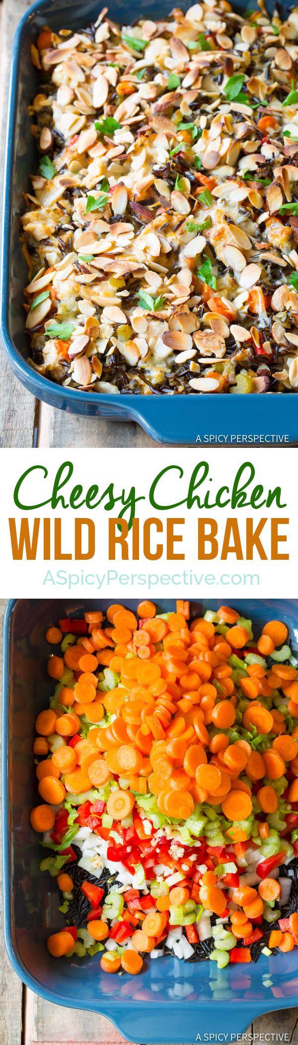 Hearty Cheesy Chicken Wild Rice Casserole | ASpicyPerspective.com