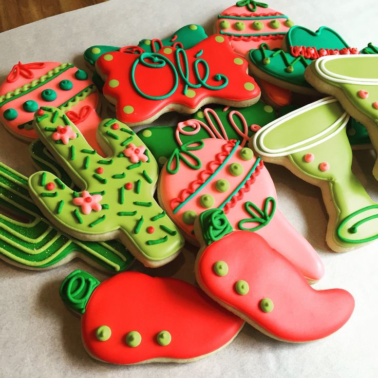 Fiesta Decorated Sugar Cookies Dozen by AnnPotterBaking on Etsy                                                                                                                                                                                 More