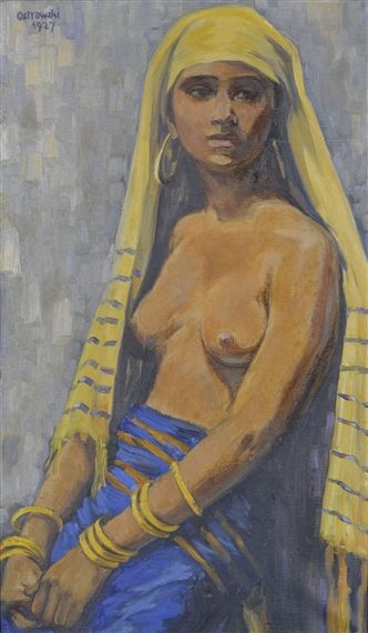 Style of Jacques Majorelle Femme berbère au foulard jaune , 1927 oil on canvas  38×64 cm  | MutualArt