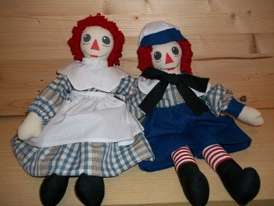 PDF How to make Raggedy Ann Doll and Andy, Raggedy Ann and Andy Stuffed Dolls and Clothes, PDF Pattern download, Instructions also English, Tutorial in PDF per realizzare le bambole di stoffa, mitiche Americane Raggedy Ann e Andy