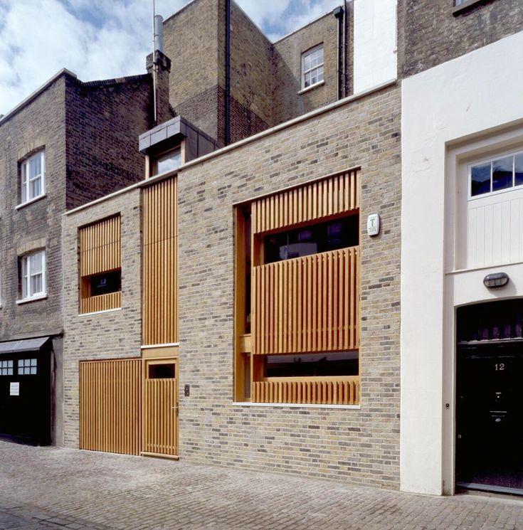 #cladding #elevation - timber slats insert in brick wall