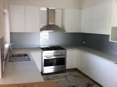 Dulux Silver Spoon Splashback Glass Backsplash Kitchen Dulux